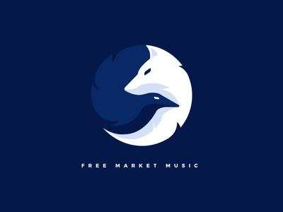 "Free Market Music ""Wolf & Raven"" combined space negative black and white logo animal logo raven wolf download shop free market music"