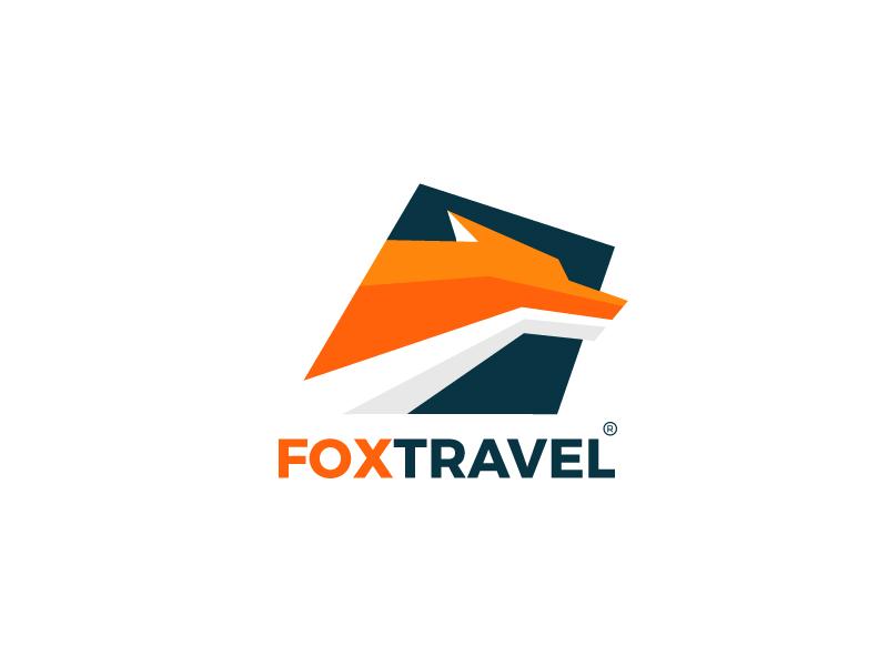 Fox Travel wild country. agency orange. plane travel. animal. fox logo fox