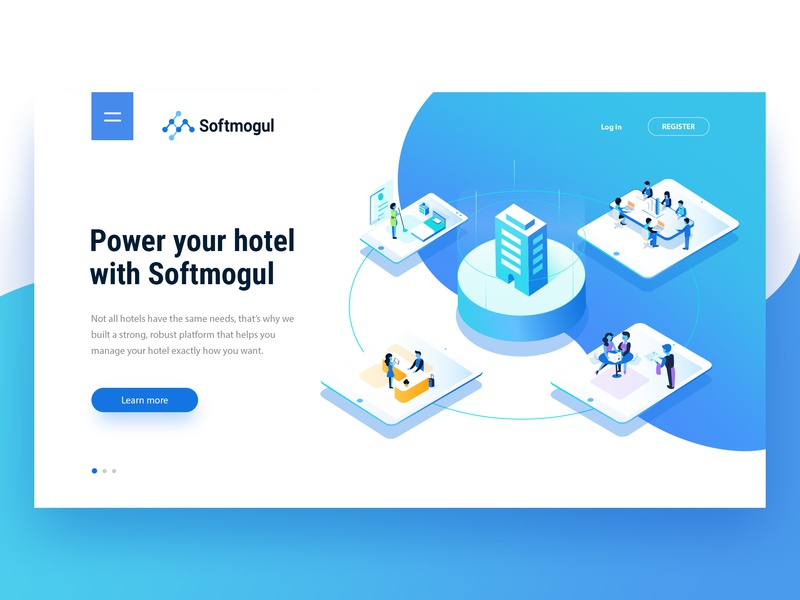Softmogul Debut hotel mobile application app ux ui connection teamwork technology tablet power service services illustration isometric start up business hotels solution solutions