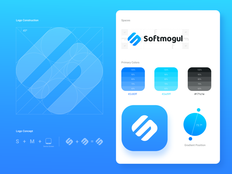 New Brand Softmogul software logo technology brand presentation letter logo mongroam start up startup business identity logo grid brand hotel