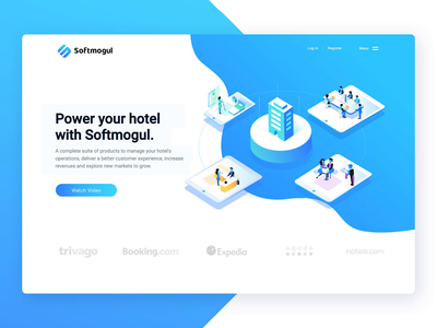 Web Preview Softmogul software design software homepage hotel pms pms simple flow softmogul animation isometric startup booking web animation web hotel branding hotels hotel