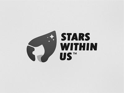 Stars Within Us Bw dreaming dream space fly negative space retro logo hair stars non profit girly girl logo women logo women