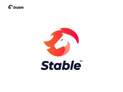 Stable Logo Final Version negative space logo negative space animal logo logo horse startup freelance fire horse stable horse logo design wild brand animal