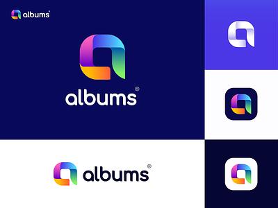 albums v2 brand identity brand design letter logo album simple colorful startup mobile app phone social media social photographer branding brand logo application app photo