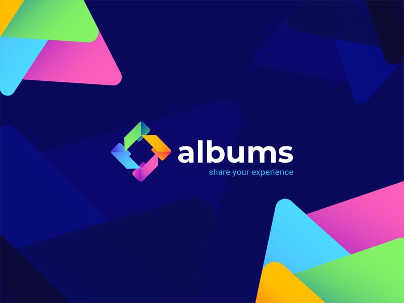 albums v3 logo design branding logo design icon app icon app design startup simple folders folder share colorful branding brand identity logo brand social app app albums