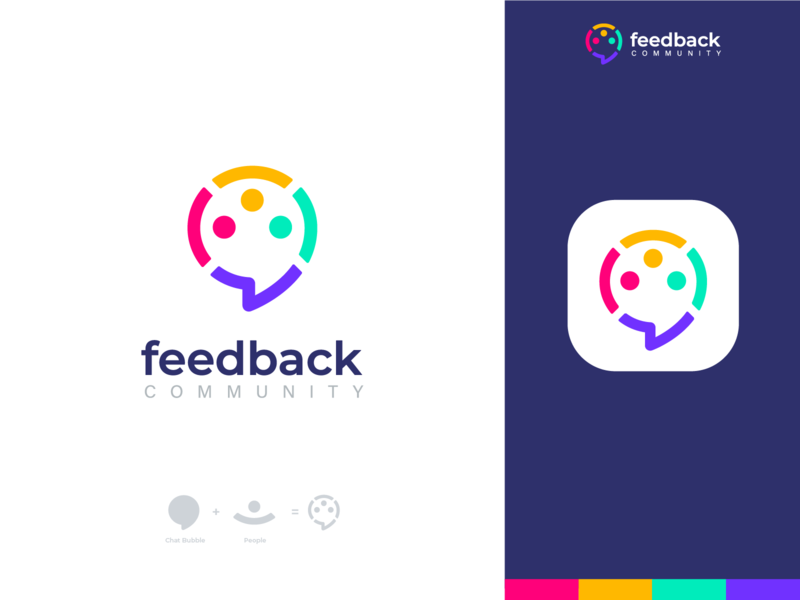 feedback community v1 2 colorful brand design brand identity people logo people startup idea share shop app logo logo branding brand colors chat logo communication