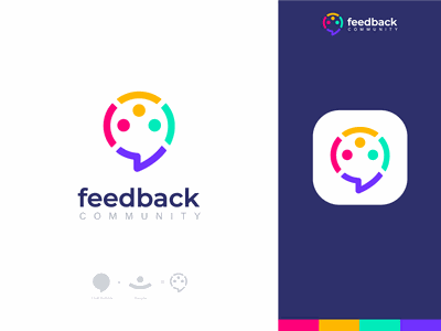 feedback community v1 2 connect connection colorful brand design brand identity people logo people startup idea share shop app logo logo branding brand colors chat logo communication