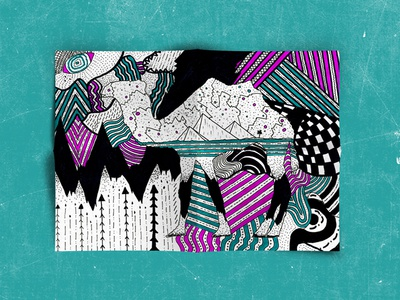 Ink Drawings pink teal ink drawing drawing ink art graphic design