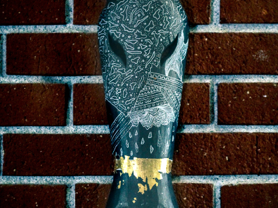 Avant Mask mask acrylic giraffe pattern gold leaf drawing ink art pattern design
