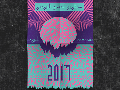 Sunset Poster pattern sunset poster festival pink teal drawing ink art graphic design