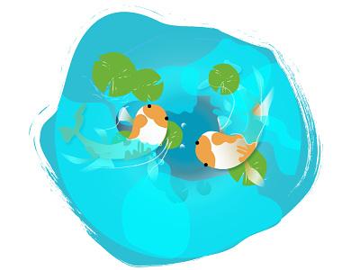Koi Fish lilypad koifish koi pond fish illustration vector design