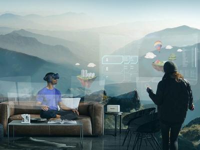 virtual reality travel ad concept image