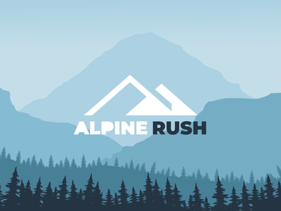 alpine rush flat minimalistic logo illustration vector design