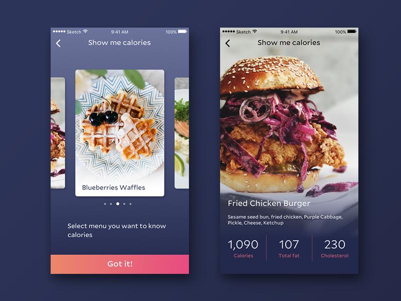 Show me calories! food gradient minimal design card app ui