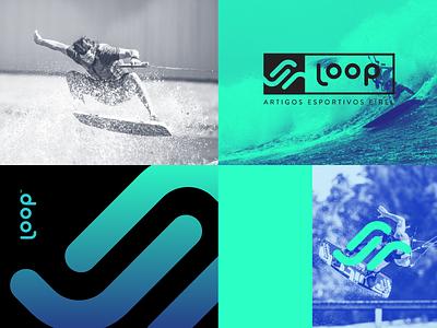 Loop loop wave esportivo surf sport kitesurf branding brand logo