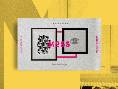 Moss - business cards poster yellow pink house may branding brand logo cards business