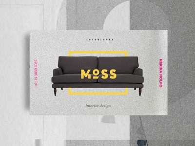 Moss - business cards yellow pink house may branding brand logo cards business