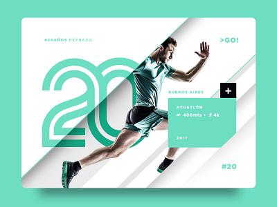 #20 card running run sport 20 brand logo