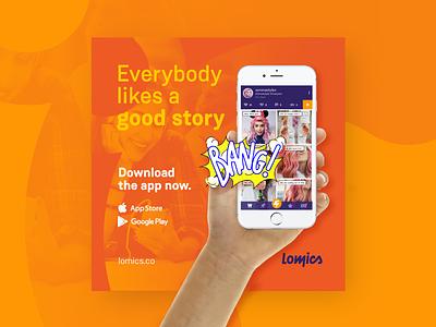 Rebranding for Lomics app icon storytelling story comic branding rebranding