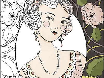 Deco Dames  women fashion flowers art deco flapper coloring book