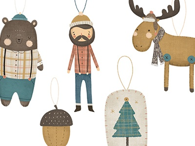 Ornament Design animals woodland holiday christmas illustration ornament