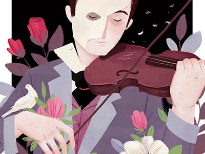 Phantom Personal WIP flowers floral illustration portrait phantom of the opera