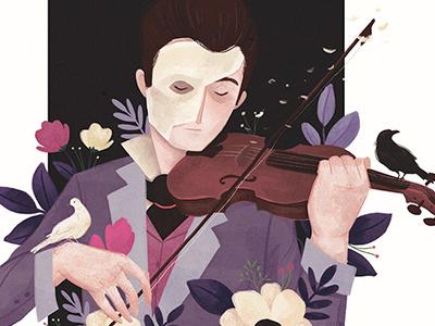 Music of the night music of the night floral flowers birds digital portrait music phantom of the opera
