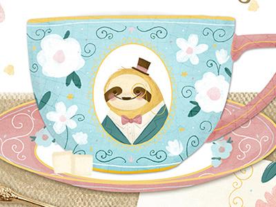 Tea Cup Design cute vintage fancy product design illustration surface design napkin teacup tea sloth