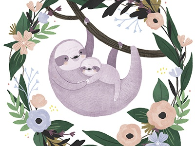 Mommy & Me baby mom flowers sloth