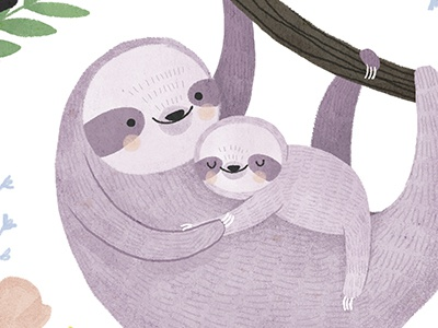Mommy & Me flowers baby mom sloth