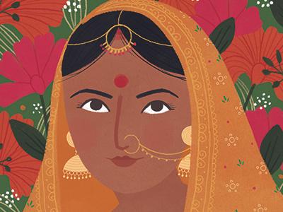 India portrait flowers floral saree india