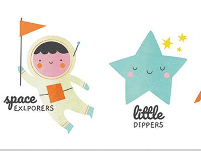 Lauch kids logos astronaut star illustration childrensillustration logo logodesign
