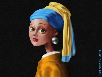 Girl with a Pearl Earring procreate painted girl with a pearl earring vermeer illustration painting masterwork cartoon
