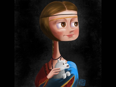 Lady with an Ermine illustration painted painterly fun cute cartoon masterwork painting
