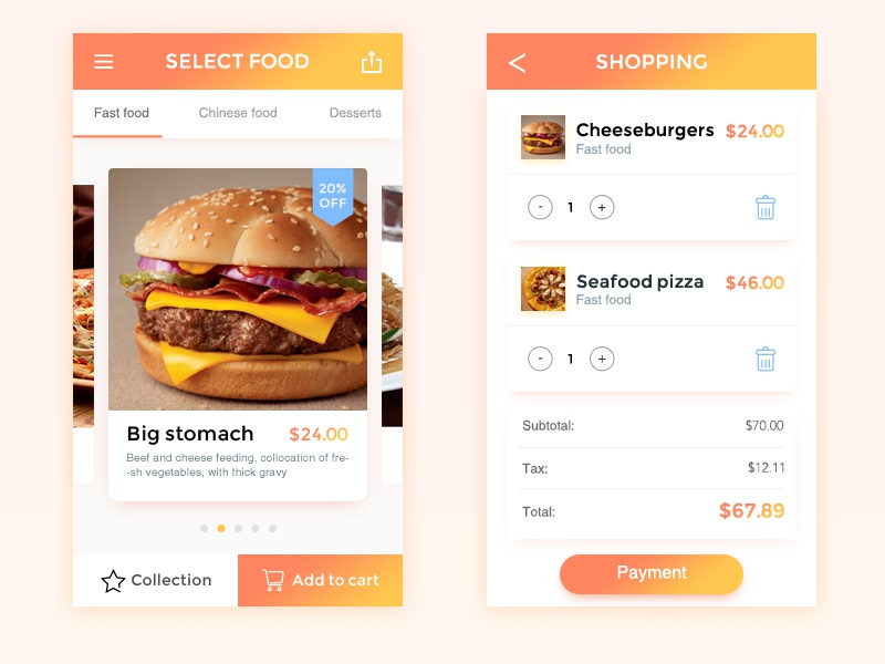 Fast Food shopping hamburger app fast food ui