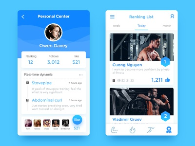 Personal Page App(fitness) ranking list bodybuilding blue personal page app