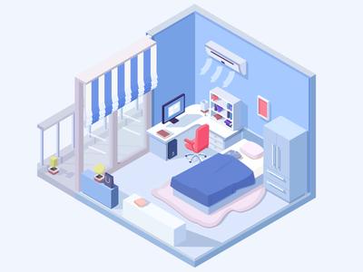 Bedroom kairosoft furniture bedroom blue isometric