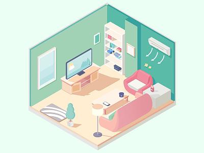 Living Room furniture isometric sunlight living room