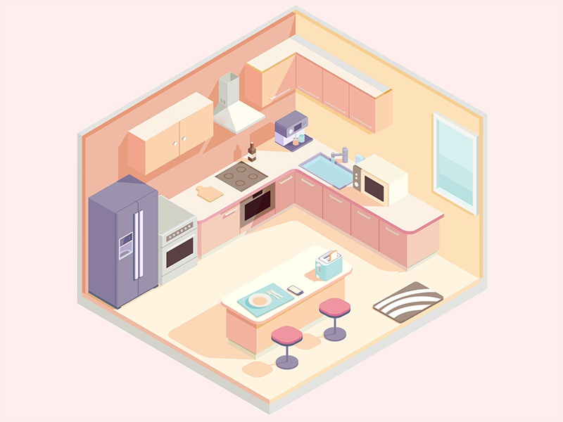 Isometric kitchen home appliances tableware isometric kitchen