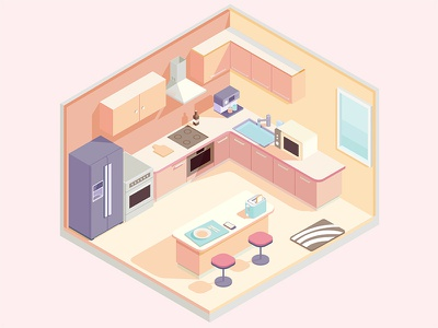 Isometric kitchen home appliances tableware isometric kitchen