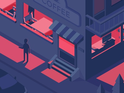 Isometric street(dark) black dark street room restaurant isometric car