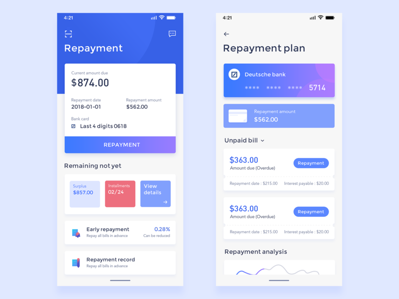 Loan repayment bill blue repaymengt bill financial app