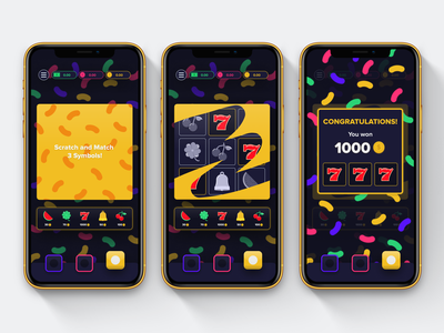 Scratch Game UI skeumorphic casino games game ui design ux jellybean vector luck lucky casino illustration ui design mobile app mobile ui mobile
