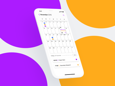 Calendar App calendar typography ios iphone clay scheduling project team collaboration ux mobile app mobile ui
