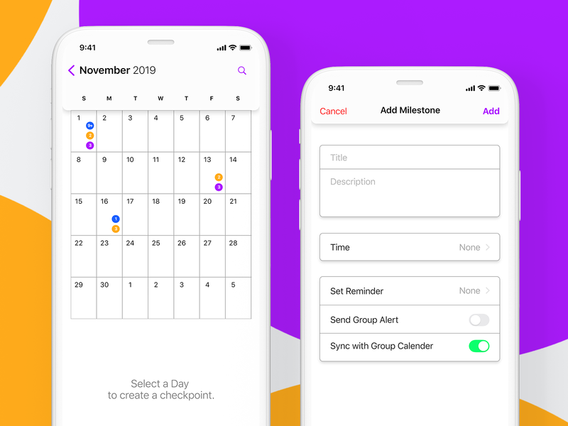 Calender App iphone project design settings sheduling collaboration checkpoint mobile app ux ui calendar