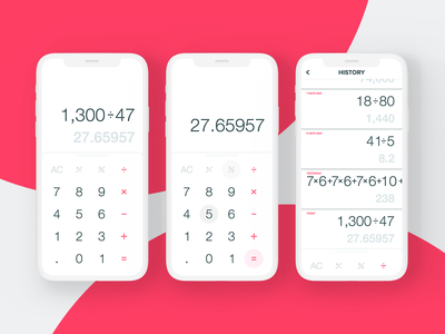 Calculator App Light minimal clean history light white iphone x design iphone ios ux ui mobile app calculator