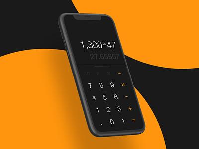 Calculator App Dark ios iphone design mode dark mobile app ux ui calculator