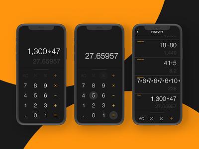 Calculator App Dark history iphonex design iphone ios calculator ux ui app mobile