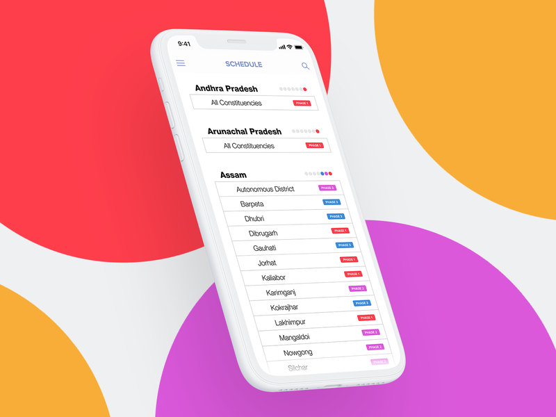 2019 General Election Schedule (India) ios iphone x districts webapp design list schedule phases white states 2019 india ux ui mobile app election