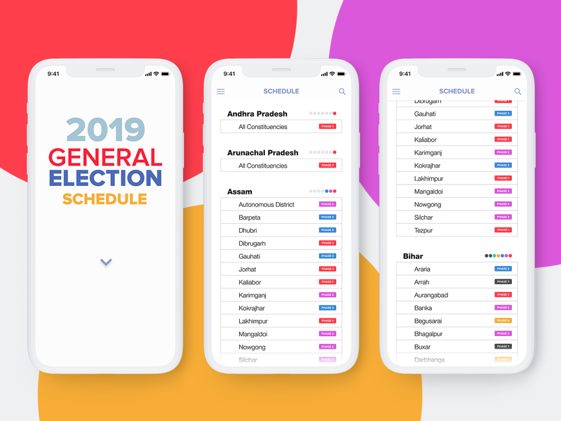 2019 General Election Schedule (India) ios iphone mobile ux ui webapp schedule general india 2019 election